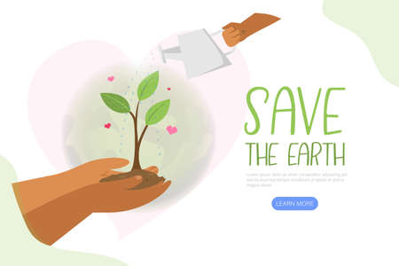 Save the earth. Hand holding Green planet with Watering can. Environment Concept. Vector flat illustration Vettoriali