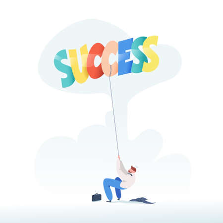 Businessman pulling a rope balloons success. Business concept of success. Trendy flat design. Vector illustration