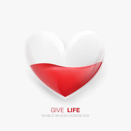 World blood donor day. blood transferring Heart bag concept. Vector illustration
