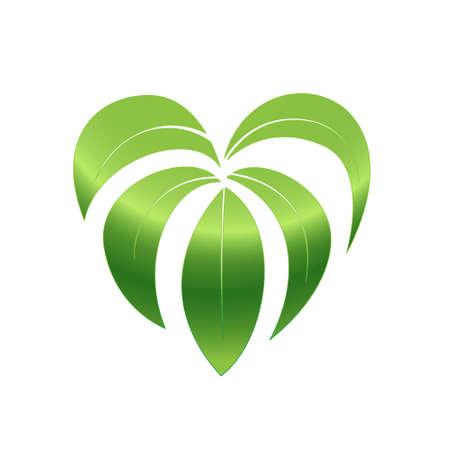 Love nature. Green leaf and heart shape logo. Vector illustration