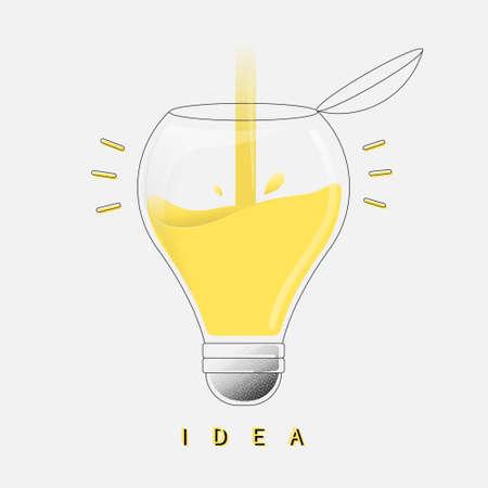 Trendy flat design. The light bulb is full of ideas. Add ideas concept. Vector illustration