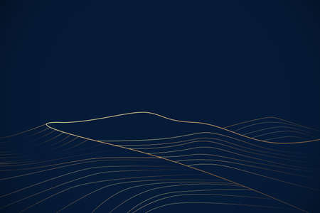 Luxury gold mountain lines on navy blue background. Vector illustration