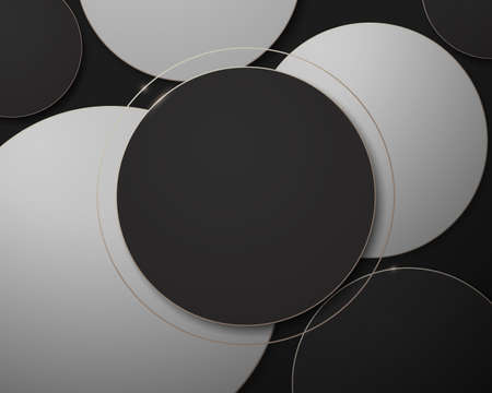 Black, white, and gold abstract circle geometric luxury concept background. Vector illustration