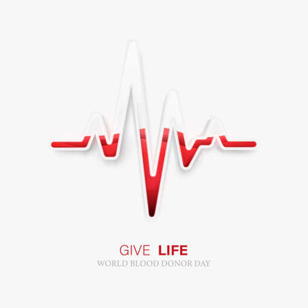 World blood donor day. Heartbeat icon glass and blood inside. Vector illustration