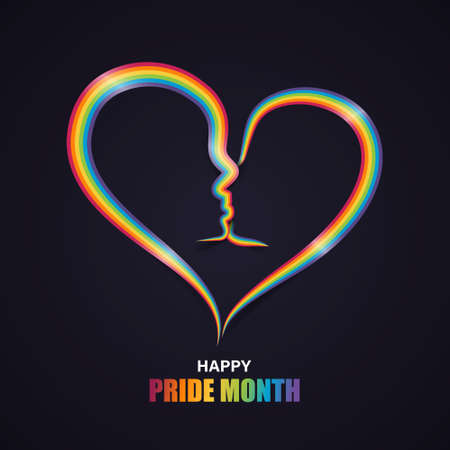 Heart shape with couple kiss in rainbow pride ribbon. LGBT, LGBTQ Gay pride flag. Happy pride month. Vector illustration