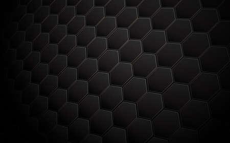 Abstract black hexagon and gold line geometric perspective background. Vector illustration Ilustração