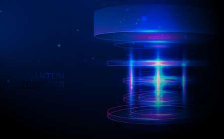 Quantum computer. Big data visualization technologies algorithms. Artificial intelligence. Vector illustration