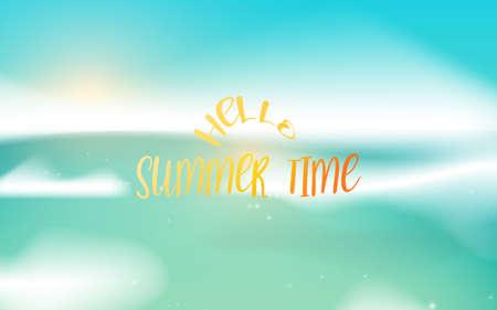 Beautiful seascape panorama. Blue ocean and sky background. Hello, summertime. Vector illustration Ilustração