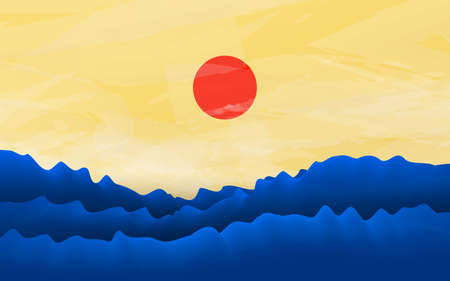 Minimalist design. Blue waves sea with soft yellow sky and red sun background. Vector illustration