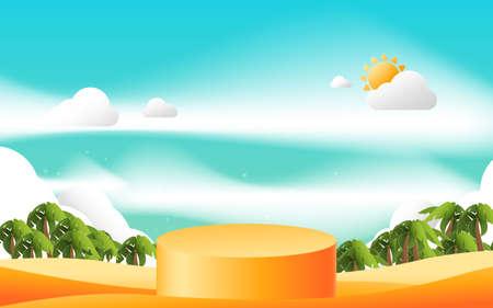 Orange product display mockup. 3d podium with Summer background. Vector illustration