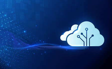 Cloud computing technology internet. Big data visualization technologies algorithms. Vector illustration