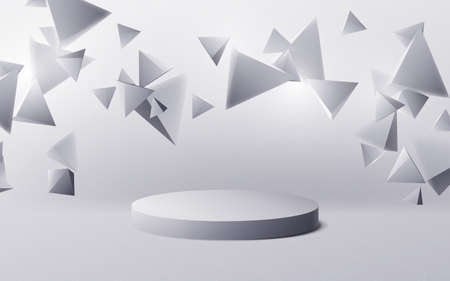 Abstract white 3d polygon chaotic with 3d product display mockup podium background. Vector illustration Ilustração