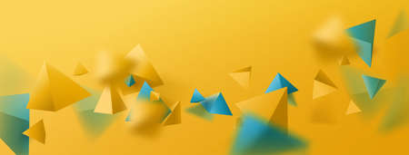 Abstract yellow and blue 3d polygon chaotic background. Colorful summer background. Vector illustration