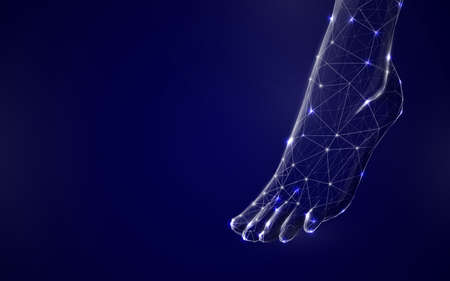3d Human feet from lines, triangles and particle style design. Illustration vector