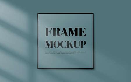 Blank black border frame on pastel blue background with shadow light window. Vector illustration
