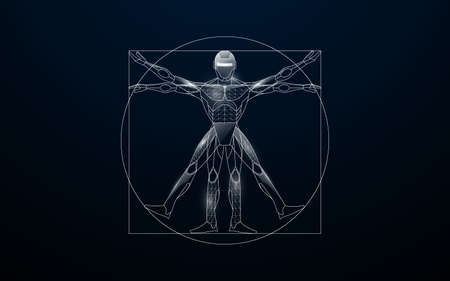 Vitruvian man with a cyborg from lines, triangles, and particle style design. Illustration vector