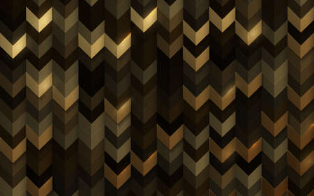 Abstract 3d vintage geometric gold color tone pattern wall background. Vector illustration