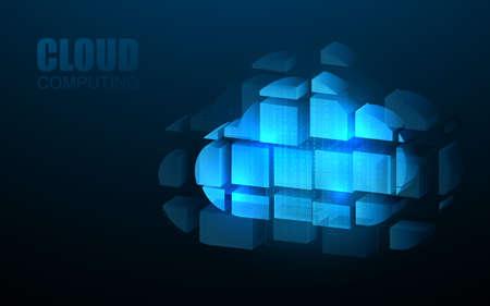 Cloud computing online storage.  IOT. Digital datacenter connection network. Vector illustration