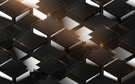 Abstract 3d luxury box structure pattern. Elegant gold, black and white geometric background. Vector illustration