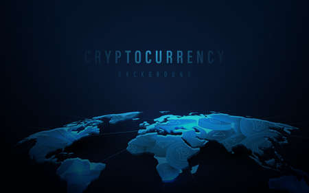 Cryptocurrency in the world map on dark blue wallpaper. Online financial communications