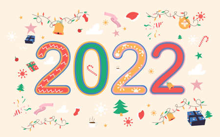 2022 happy new year with cute Christmas elements. Vector illustration Illustration