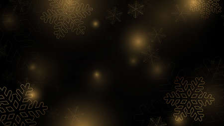 Christmas background. Abstract chaotic golden snowflake and light background. Vector illustration