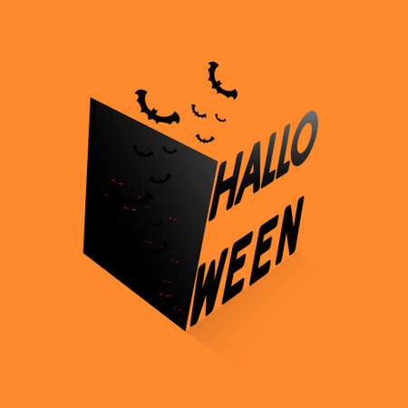 Happy Halloween text banner with Black box and bats. Vector illustration