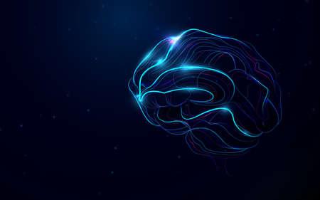 Human brain. Abstract neon lines. Vector illustration Illustration