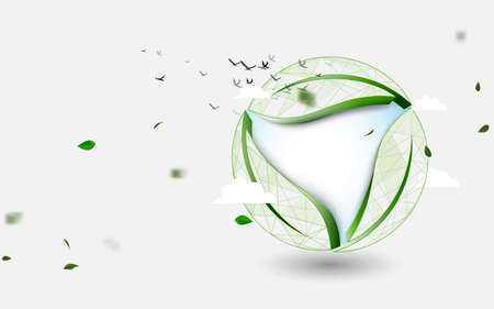 3d recycle icon. Recycle leaves. with globe. Environment concept. Vector illustration Illustration