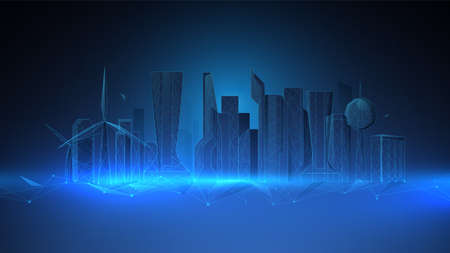 Urban architecture, cityscape with structure lines. Low polygon line, triangles, and particle style design. Abstract geometric wireframe light connection structure. Vector illustration