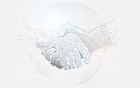 Businessmen shaking hands on a world map. Low polygon line, triangles, and particle style design. Abstract geometric wireframe light connection structure