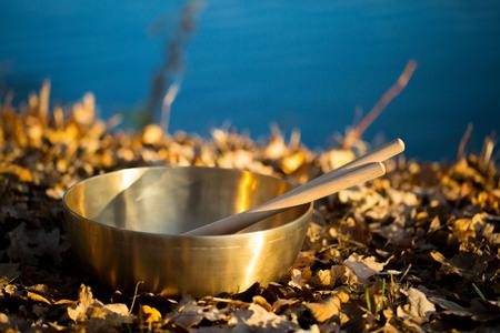 esoterismo: cuenco de bronce en el lago Foto de archivo
