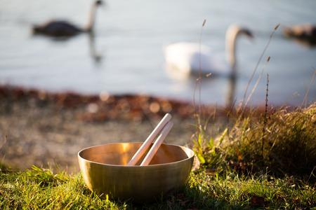 singing bowl massage: bronze bowl on lake