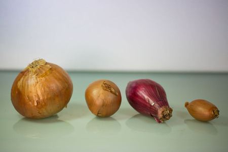 pealing: Various onions on a white background