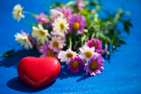 heart on blue background, with margarites