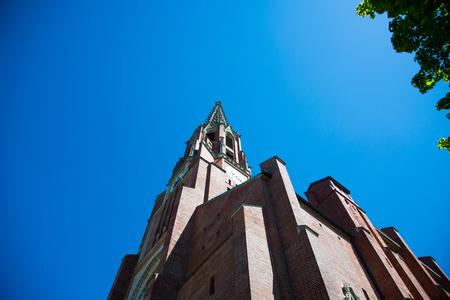 Mariahilf church with sunshine, blue sky Stock Photo