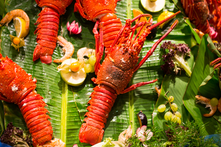 Lobster at the buffet, dinner, seafood