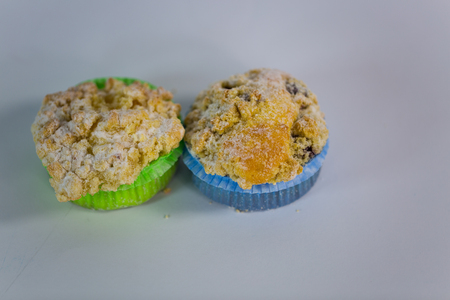 muffin with sprinkles, white background Stock Photo