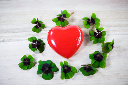 Heart with lucky clover, shamrocks, birthday, Valentines Day,