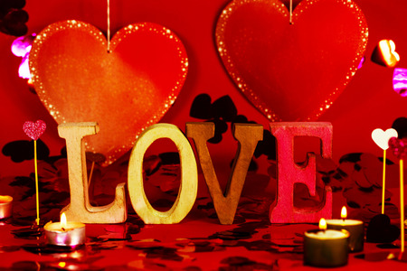 Love written letters, word, red background, heart, hearts, candles