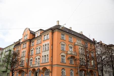 Row of houses with old building houses in Schwabing, colorful facade