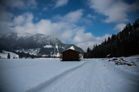 Winter in Bayrischzell, blue sky, snow Stock Photo