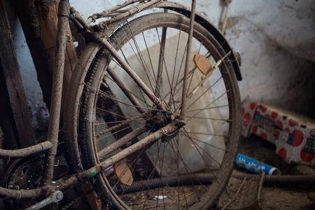 old bicycle in barn, handlebar