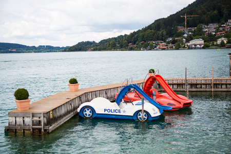 colorful pedal boats at Tegernsee 스톡 콘텐츠