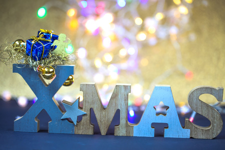 Xmas with bokeh, Xmas word, letters with bokeh Stock Photo