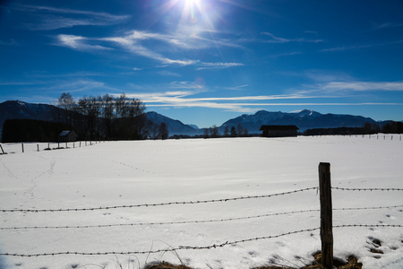 Snowscape in Benediktbeuren, Bavaria, Kochel am See