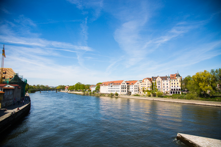 View from the stone bridge in Regensburg. Stone bridge