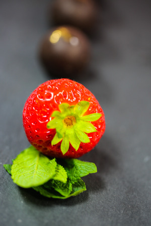 Strawberries on slate, fruit, garden, closeup