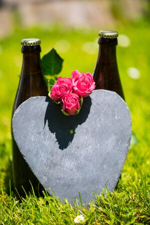 Beer bottle with heart and roses for Fathers Day