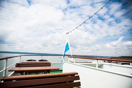 Trip on the Bavarian lakes with the excursion ship, ship, steamer 版權商用圖片 - 131099860